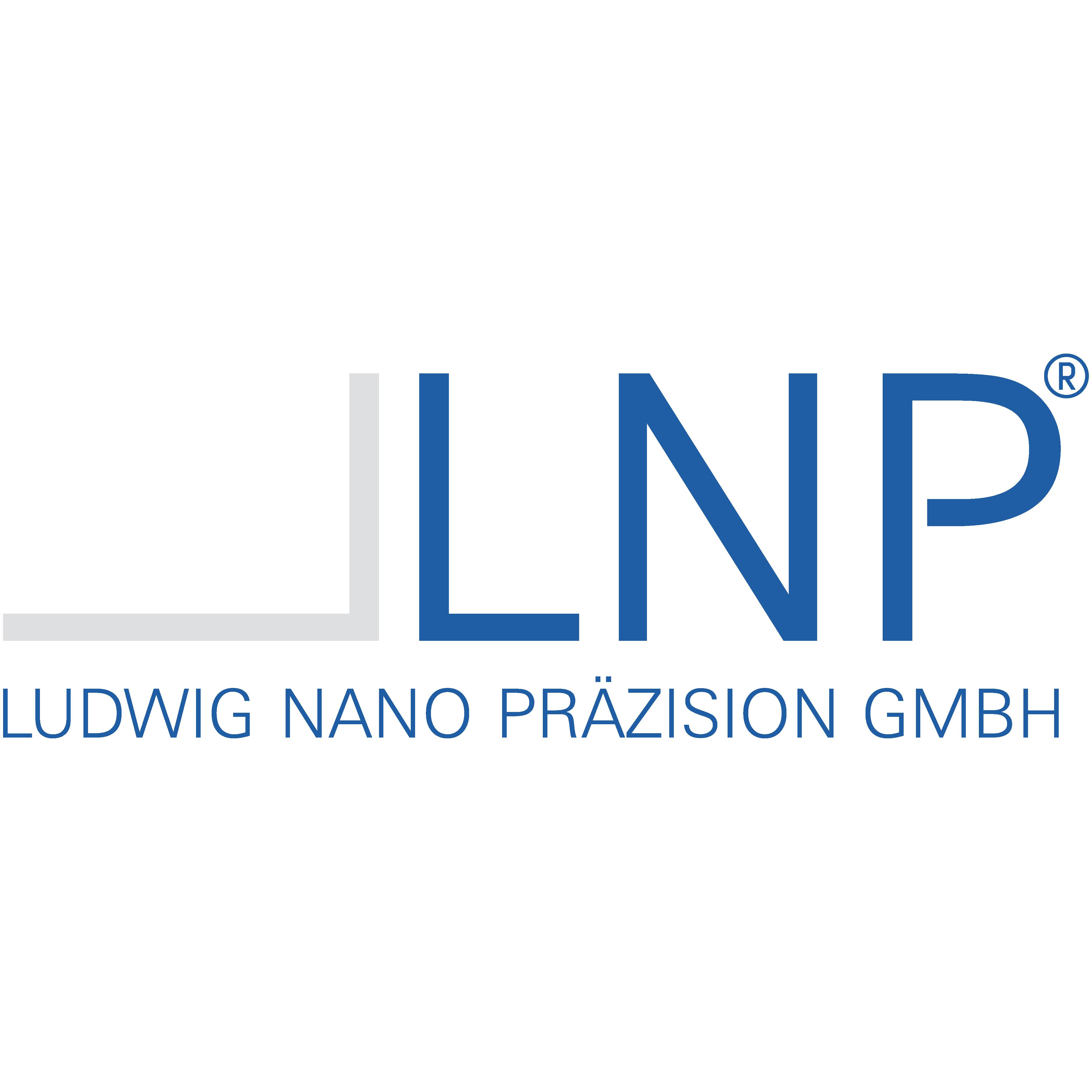 Wortbildlogo der Ludwig Nano Präzision GmbH in Hellgrau und Blau