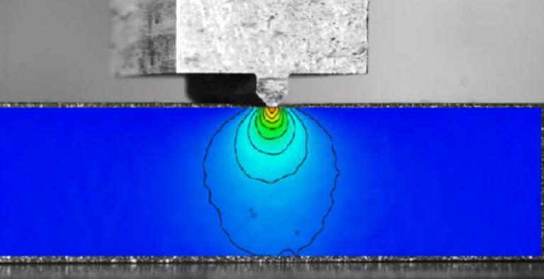 Mit einem bunten Farbverlauf ist der Spannungsabbau im Material während der Indentation gekennzeichnet. Die Spannung baut sich von der Nadel aus in Richtung der Auflagefläche ab.