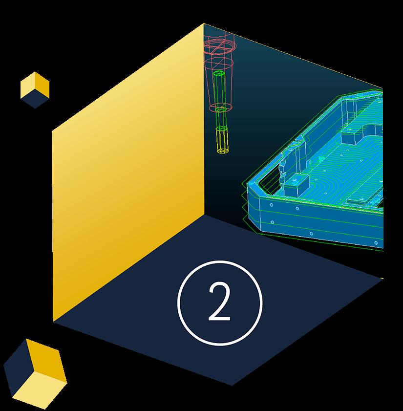 Auf einem Würfel ist ein Bauteil im CAD Programm zu sehen
