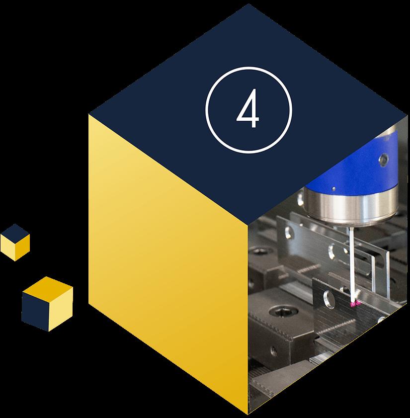 Filigrane Bauteile werden mit Prüfgerät auf Genauigkeit geprüft