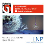 Abgebildet sind die Veranstaltungsdaten der Fakuma 2021, darunter ein Firmenbild der Ludwig Nano Präzision GmbH mit Standinfos und Logo